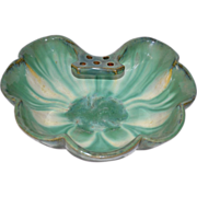 "Gorgeous FULPER Pottery Large Shell Form Bowl with Attached ""Tab"" Frog - shape 508 - Fulper Pottery Flemington New Jersey 1922-1928"