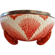 RARE Antique Majolica Lobster Seafood Bowl Footed Shell Metal Rim ~ Sarreguemines France 1889-1922