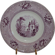 "Large 11"" Ironstone Bowl Purple Transfer ~ Roselle Pattern ~ Meir & Son ~Tunstall Staffordshire England 8/26/1848"