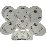 Set of 8 French Bowls and Gravy Boat ~ Limoges Porcelain~ Basket Weave Embossed ~ Haviland & Co Limoges France 1876-1882.
