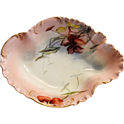 Limoges Porcelain Bowl / Dish ~ Hand Painted with Orange & Yellow Nasturtiums Flowers ~ Haviland & Co~ Limoges France 1888-1896
