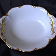Impressive Porcelain Hand Painted Scalloped Edge Oval Serving Bowl White with Gold Rococo – PM Bavaria