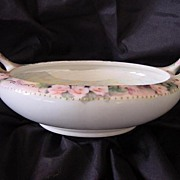 MZ Austria Hand Painted Porcelain BonBon Bowl with Roses and Luster Inside, Two Handled