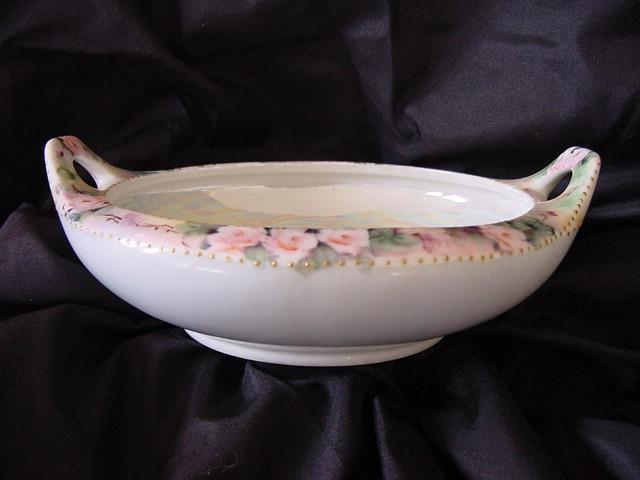 50% OFF! MZ Austria Hand Painted Porcelain BonBon Bowl with Roses and Luster Inside, Two Handled