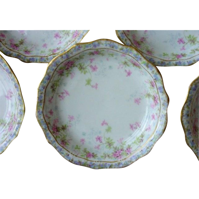 50% OFF! Set of  (8) Limoges Porcelain Berry or Nut Bowls – Pink, Blue and Purple Dainty Flowers – JPL France  Jean Pouyat 1900-1906