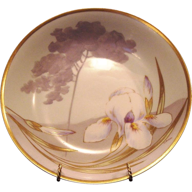 50% OFF! Gorgeous Limoges Porcelain Bowl ~ Hand Painted with Yellow Bearded White Iris ~ PM Mavaleix / Coronet 1908-1914