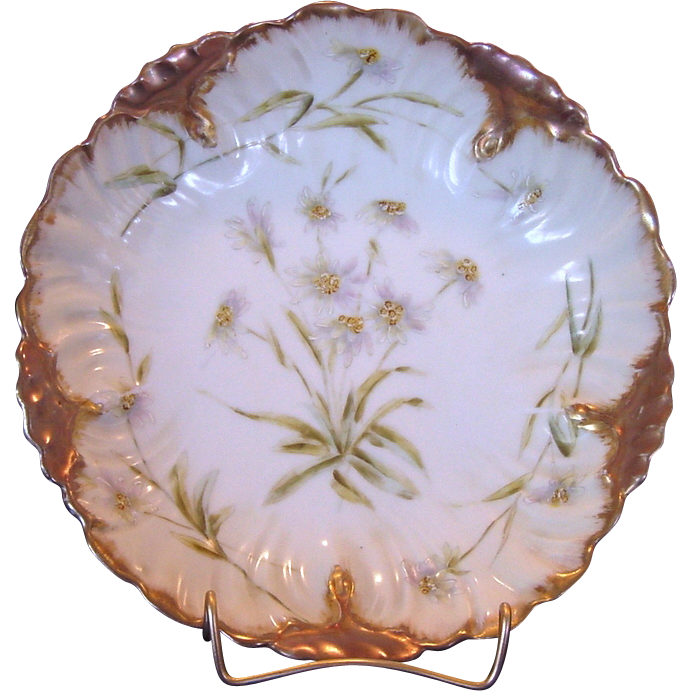 Stunning Limoges Porcelain Bowl / Dish ~ Hand Painted with White Flowers ~ Laviolette / Bawo Dotter ( Elite Works) 1896-1900