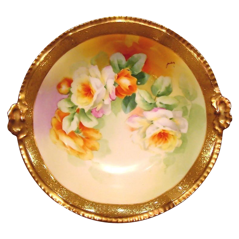 Outstanding Rococo Rimmed ~ Limoges Porcelain Bowl ~ Hand Painted with Orange & White Roses ~ Artist Signed ~ Latrille Freres / Coiffe 1908 - 1913