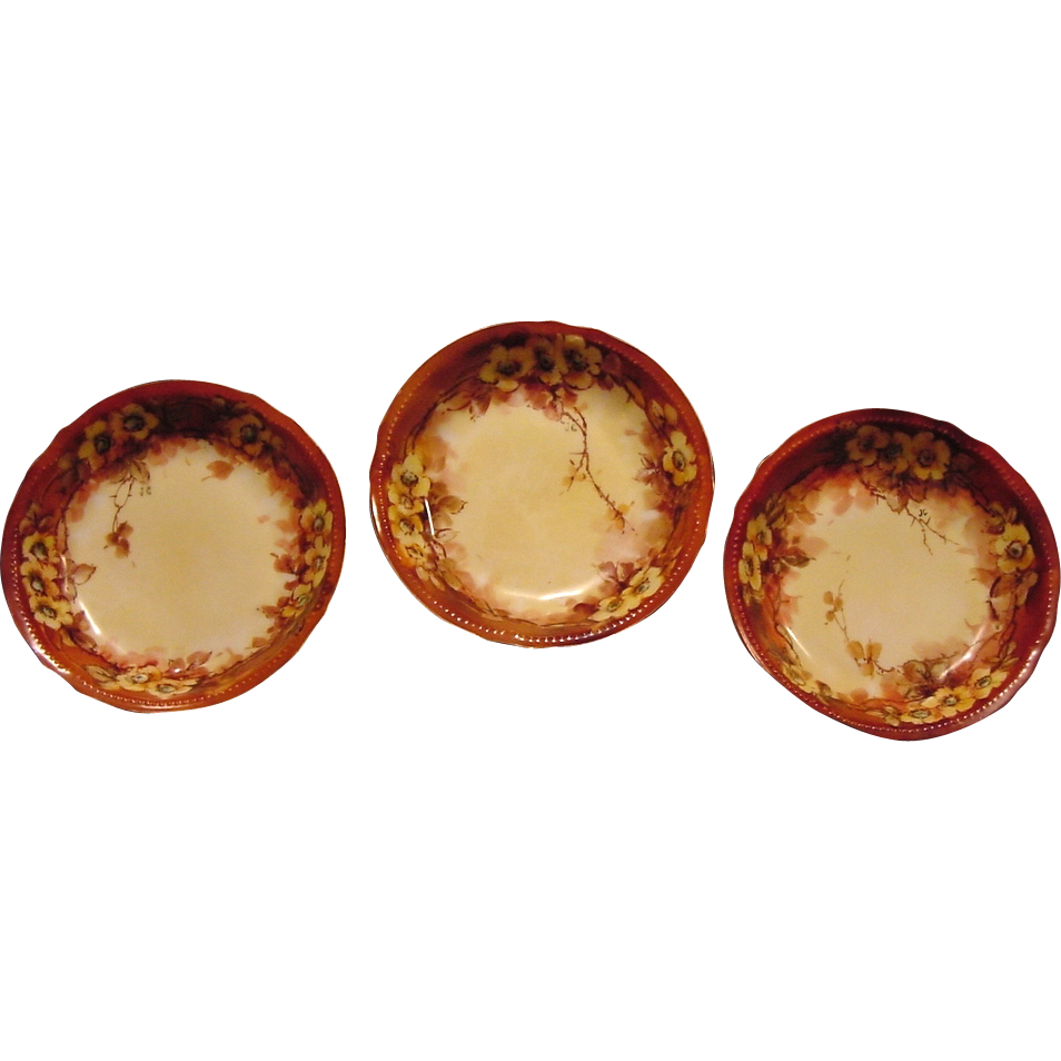 Three Delightful Limoges Porcelain Nut or Berry Bowls ~ Hand Painted with Yellow Roses ~ Artist Initialed ~ Bawo & Dotter Elite 1900+
