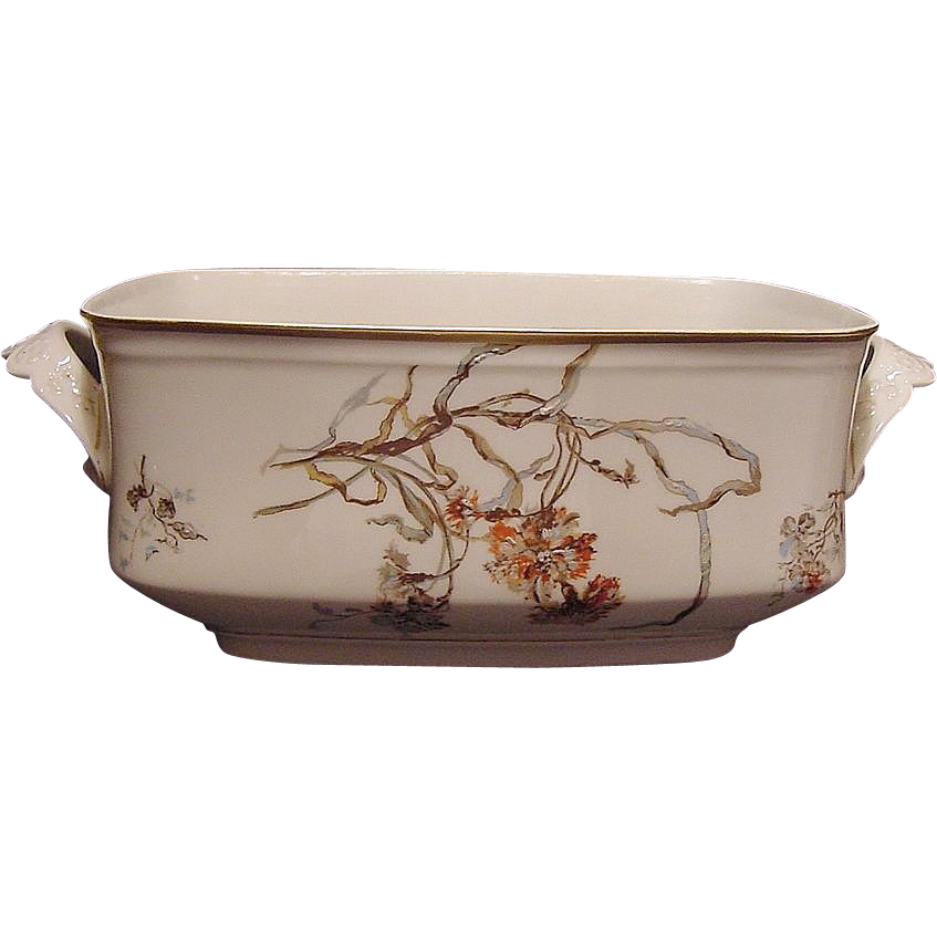 Nice Large Rectangular Limoges Porcelain Serving Dish ~ Decorated with Blue Bells and Carnations ~ Martial Rendon / Bawo & Dotter Elite 1882-1890