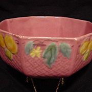Beautiful PINK Octagonal Majolica Bowl – Fruit Motif with Basket Weave ~ Georg Schmider ~ Zell ca 1907 – 1928