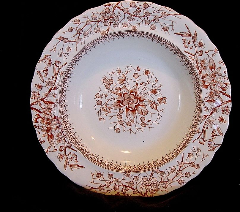 "Nice Red Aesthetic Transfer Ware Bowl with Flowers on Branches ""Gloucester"" Pattern ~ Keeling & Co 1888"