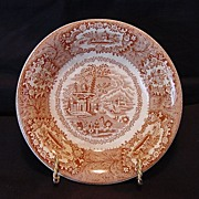"Attractive English Red / Pink Transferware Dish ~ ""Oriental Pattern""  ~ George Jones & Sons 1891-1920"