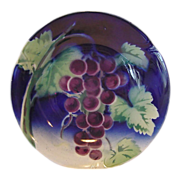 Attractive French Majolica Bowl ~ Decorated with Purple Grapes~ GIEN (Gien, France) 1920's