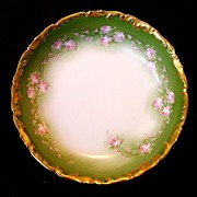Awesome Limoges Porcelain Bowl ~ Gold Rococo Rim ~ Factory Decorated with Pink Flowers ~ Tressemann & Vogt ( T&V )  1891-1907