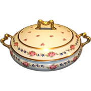 Beautiful Limoges Porcelain Covered Dish ~ Pink & Blue Flowers ~ R. Delinieres & Co
