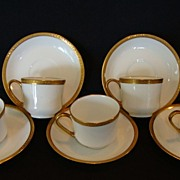 Set of (5) ~ Awesome Limoges Porcelain Demitasse Cups with Saucers ~ White with Gold Embossed ~ Limoges France ~ After 1891