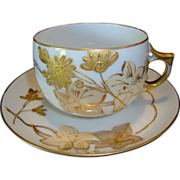 Unique Large Limoges Porcelain Cup & Saucer ~ Hand Painted with Gold Enameled Flowers ~ A Klingenberg Limoges France 1880-1890