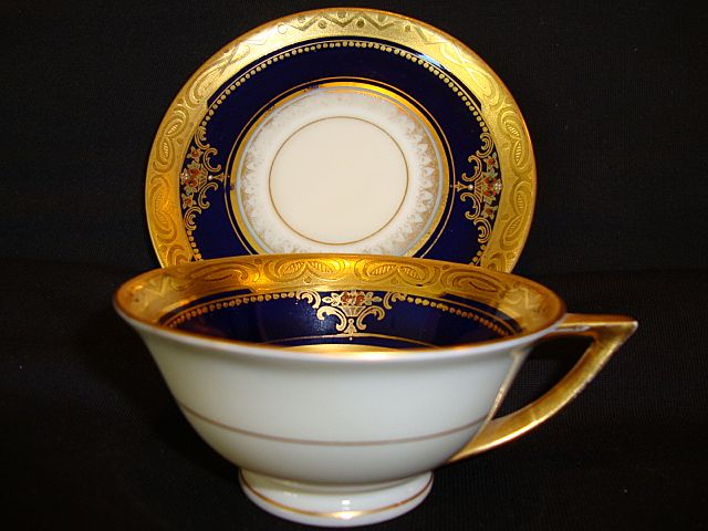 Fantastic  Porcelain Demitasse Cabinet Cup & Saucer ~ Hand Painted Cobalt and Gold Embossed ~Fischer & Meig Pirkenhammer Czechoslovakia 1918-1938
