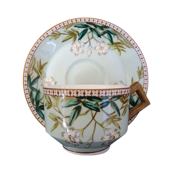 Awesome English Cup and Saucer Set ~ Decorated with White Flowers and Teal Leaves ~ Edwin James Drew Bodley Burslem England  3/14/1881