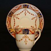 Nice English Cup & Saucer ~ Imari Pattern Cobalt & Orange ~ BOOTHS & COLCLOUGHS, Ltd. (Staffordshire, UK) - ca 1948 - 1954