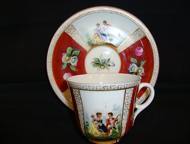 Beautiful German Porcelain Cup and Saucer ~ Hand Painted Quatrefoil Panels of Courting Scenes ~ Helena Wolfsohn 1800'S