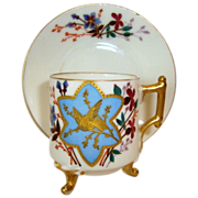 Wonderful Limoges Porcelain Demitasse Footed Cup and Saucer ~ 130 yrs old ~ Hand Painted with Unique Colorful Birds and Embossed Gold ~ A Klingenberg Limoges France Early 1880's