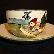 Adorable Austrian Earthenware Cup and Saucer with Hand Painted Dutch Girl and Rooster ~ Austria1900's