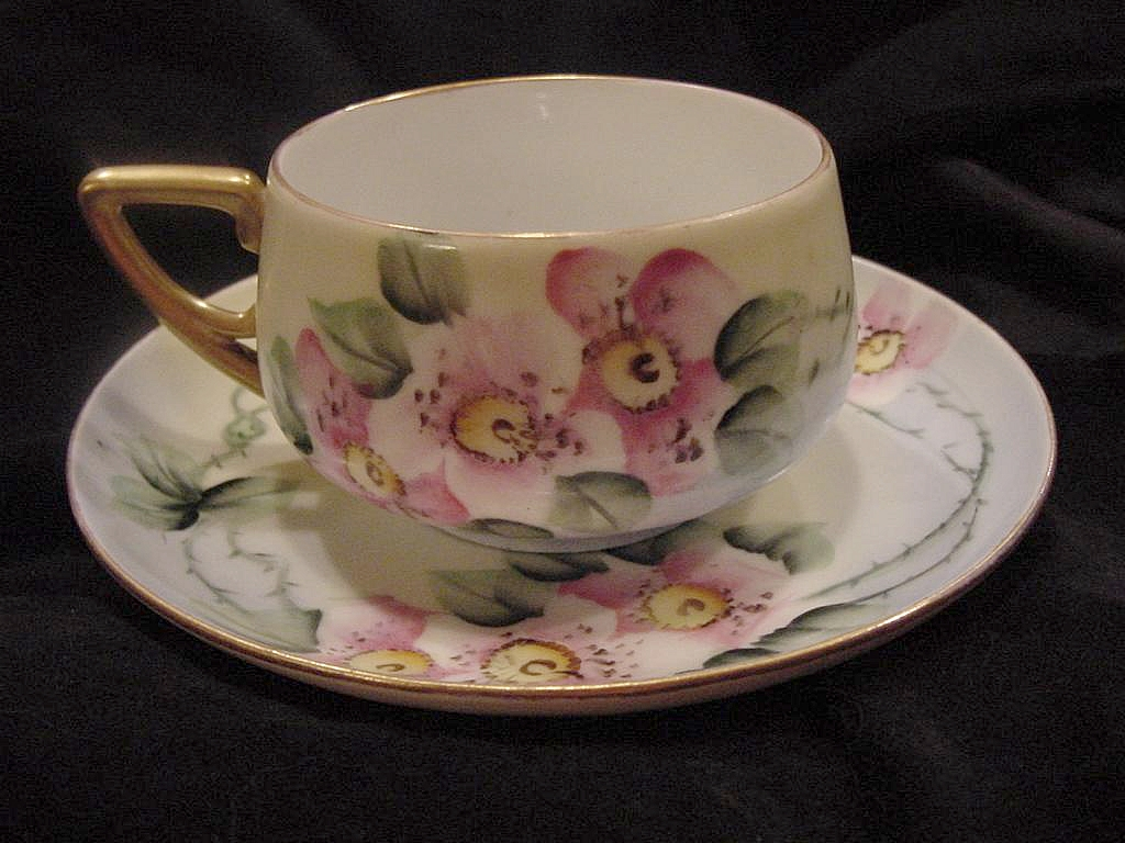 50% OFF!  German Porcelain Cup & Saucer ~ Hand Painted with Wild Pink Roses ~ KPM  Krister Porcelain Manufacturing  1904-1927