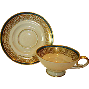 Elegant German Porcelain Demitasse Cup and Saucer Set ~ Gold Lace with Steel Blue Band ~ 	 TIRSCHENREUTH PORCELAIN Germany