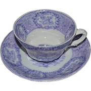 Awesome English PURPLE Transferware Cup & Saucer ~ By New Wharf Pottery England 1891-1894