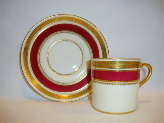 Regal English Demitasse Cup and Saucer ~ English Bone China ~ Embossed Laurel Band ~ Regency Pattern 7347~ Aynsley Bone China England ~ 1934 - 1939