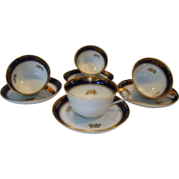 4 – Beautiful Cups and Saucer Sets ~ German Porcelain ~ Cobalt with Gold Flowers ~ Helena pattern ~ Rosenthal Germany 1935