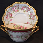 Elegant Limoges Bouillon Cup and Saucer ~ Hand Decorated with Pink and white roses ~ George Borgfeldt (Cornet)/PM Mavaleix / AK Lanternier Limoges France