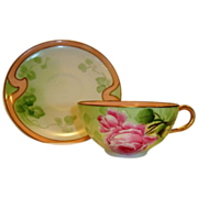 "Beautiful French Cup and Saucer Set ~ Limoges Porcelain ~ Hand Painted with Pink Roses  by ""Albert Bronsillion""  ~ George Borgfeldt  ( Cornet ) Limoges France 1908-1914"