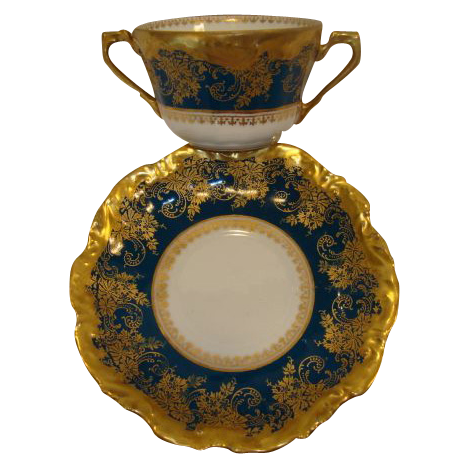 REDUCED!! Exquisite Bouillon Cup & Saucer ~  Limoges Porcelain ~ Double Handled  ~Teal & Gold Embellished ~ Coiffe Limoges France 1876 -1890