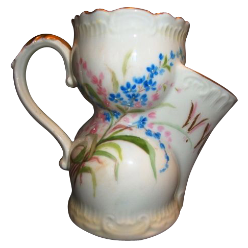 Rare Shaving Scuttle Mug ~ Limoges Porcelain ~ Hand Painted with Flowers for WW Smith ~ A. KLINGENBERG & CHARLES L. DWENGER (Limoges, France) - ca. 1890 - ca 1910s