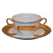 6 Bouillon Cup and Saucer Sets ~ Limoges Porcelain ~  White  with Gold Encrusted Design  ~ Haviland Limoges / Jean Pouyat  Limoges France 1894-1931