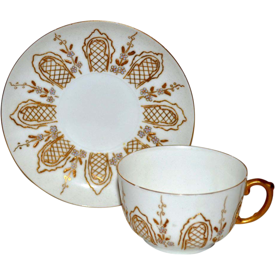 Fantastic Cup & Saucer Set ~ Limoges Porcelain ~ Raised Gold Paste and Enamel Flowers ~ Delinieres & Co Limoges France 1890-1900
