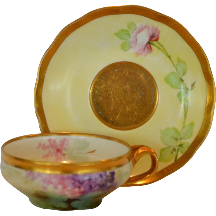 Beautiful Limoges Porcelain Cup & Saucer ~ Hand Painted with Hydrangea & Roses~ (Richard-Ginori) Italy 1863-1903