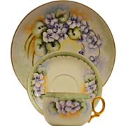 Very Nice Trio of Cup, Saucer and Dessert Plate ~  Limoges & German Porcelain  ~ Hand Painted with Gorgeous Purple & White Violets ~ Haviland & Co Limoges France / L. HUTSCHENREUTHER (Selb, Bavaria, Germany) - ca 1856 - 1920