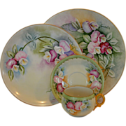 4 Pieces Cup and Saucer Set ~ Limoges /German Porcelain ~ Hand Painted with Colorful Sweet Pea Flowers ~ Haviland & Co Limoges France / L. HUTSCHENREUTHER (Selb, Bavaria, Germany) - ca 1856 - 1920