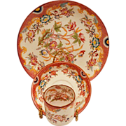 Beautiful Hard to Find Trio~ Demitasse Cup, Saucer & Plate ~ Decorated with Colorful Flowers ~Minton #216 Pattern ~ Sarreguemines France / Germany 1860-1919
