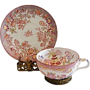 French Cup & Plate ~ Decorated with Colorful Flowers ~Minton #216 Pattern ~ Sarreguemines France / Germany 1860-1919