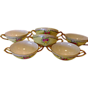 Six ( 6 ) EXQUISITE Bavarian Double Handled Bouillon Cups ~ Hand Painted with Pink & Yellow Roses ~ Favorite Bavaria ~ Early 1900's