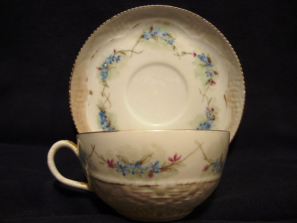 Delicate Limoges Porcelain Cup And Saucer Over 120 YRS OLD~ Basket Weave and Blue Forget Me Nots ~ Haviland & Co 1888-1896