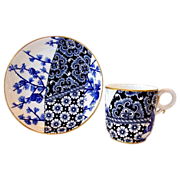 (4) Sets of Royal Worcester Cups and Saucers – Unbelievable 123 YR OLD English Blue and White Demitasse Cups & Saucers ~ Aesthetic / Japonesque ~  Bailey, Banks & Biddle Phila. 9/9/1886