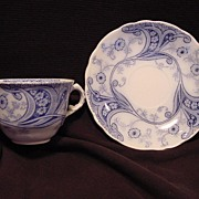 """Nice English Blue & White Semi-Porcelain """"Flow Blue"""" Cup and Saucer ~ """"Richmond """" Pattern ~ Burgess & Leigh Staffordshire England 1886"""