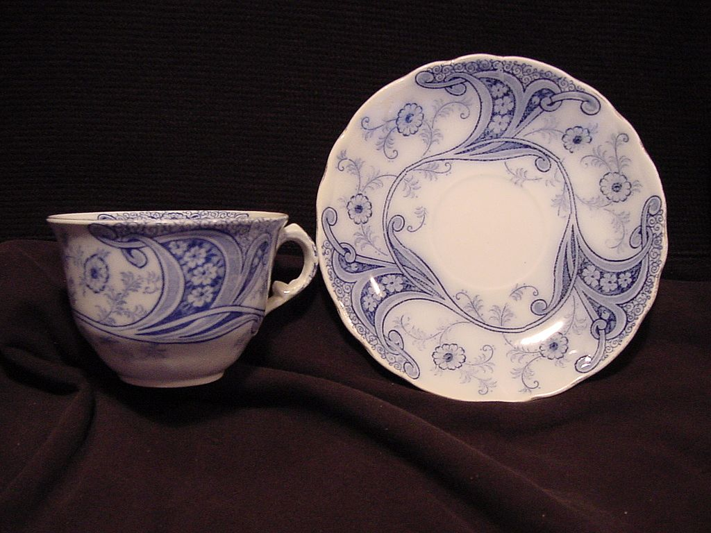 "Nice English Blue & White Semi-Porcelain ""Flow Blue"" Cup and Saucer ~ ""Richmond "" Pattern ~ Burgess & Leigh Staffordshire England 1886"