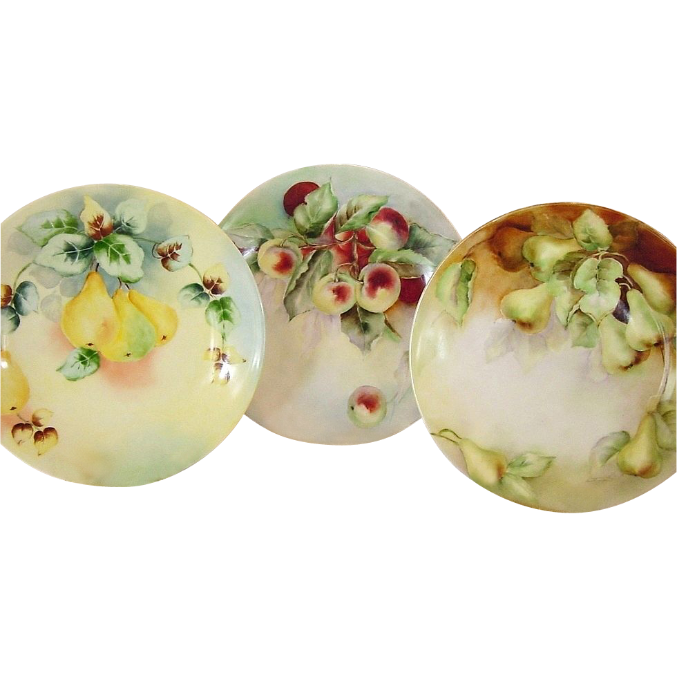 3 Wonderful Limoges Porcelain Cabinet Plates Hand Painted with Crab Apples, & Cherries ~ Delinieres & Co D&C / L BERNARDAUD B&C 1900-1914